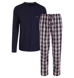 "Jockey Schlafanzug ""USA Originals"", lang, kariert, uni, nachtblau-grau, S"