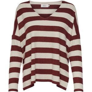 Only Damen Pullover gestreift, beige/braun, L, L