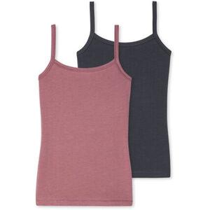 Schiesser Mädchen Unterhemd mit Spagetthiträgern, 2er-Pack, kupfer, rosabraun, S