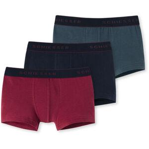 Schiesser Jungen Shorts, uni, 3er-Pack, navy/bordeaux, XS