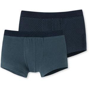 Schiesser Jungen Shorts, Wabenmuster, 2er-Pack, blaugrau, XS
