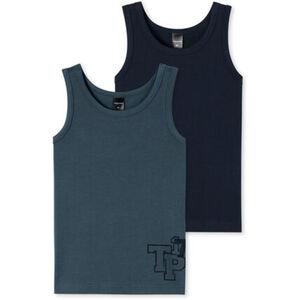 Schiesser Jungen Unterhemd, 2er-Pack, blaugrau, L