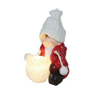 Keramik-Kinderfigur sitzend mit LED-Schneeball Warmweiß