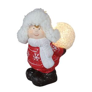 Keramik-Kinderfigur stehend mit LED-Schneeball Warmweiß