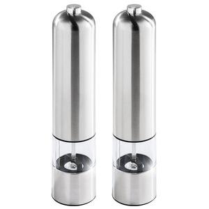 2 Elektrische Salz- & Pfeffermühle aus Edelstahl mit Lampe