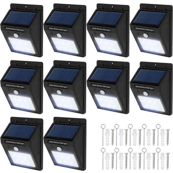 10 LED Solar Leuchten mit Bewegungsmelder