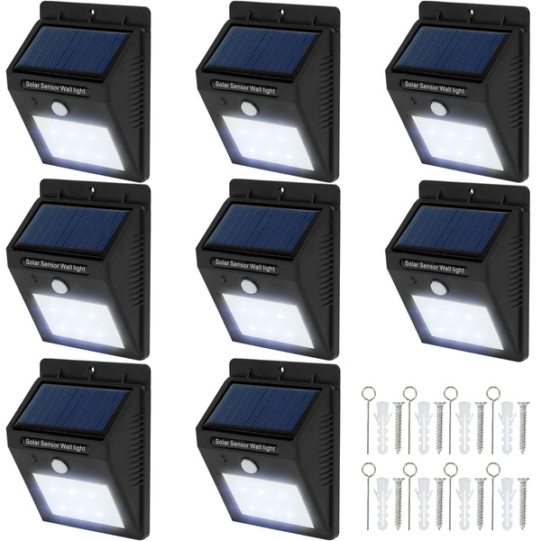 8 LED Solar Leuchten mit Bewegungsmelder