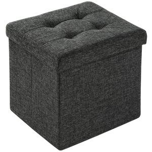 Faltbarer Sitzwürfel aus Polyester mit Stauraum dunkelgrau