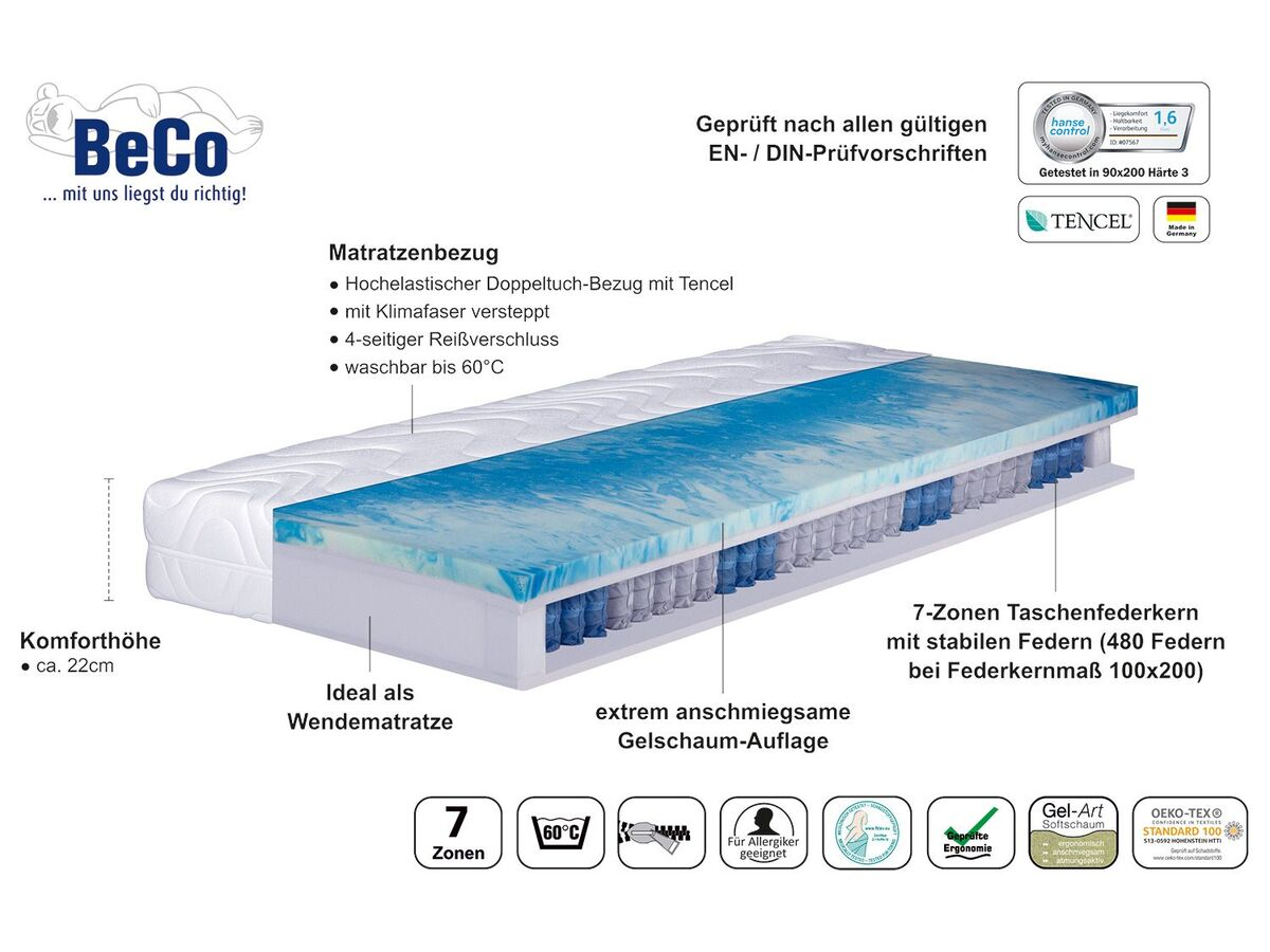Bild 2 von BeCo 7-Zonen Taschenfederkern-Matratze Pro Gel Perfekt TFK