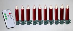 Kabellose Kerzen rot, 9 cm, 10er Set Star-Max