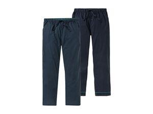 LIVERGY® Herren Schlafhose, 2 Stück, elastischer Bund mit Bindeband, aus reiner Baumwolle