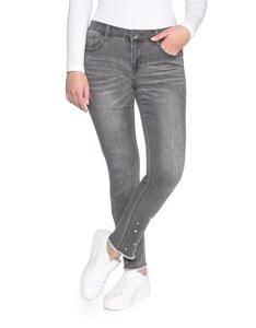 My Own - Jeans mit Fransensaum, Perlen und Ziernieten