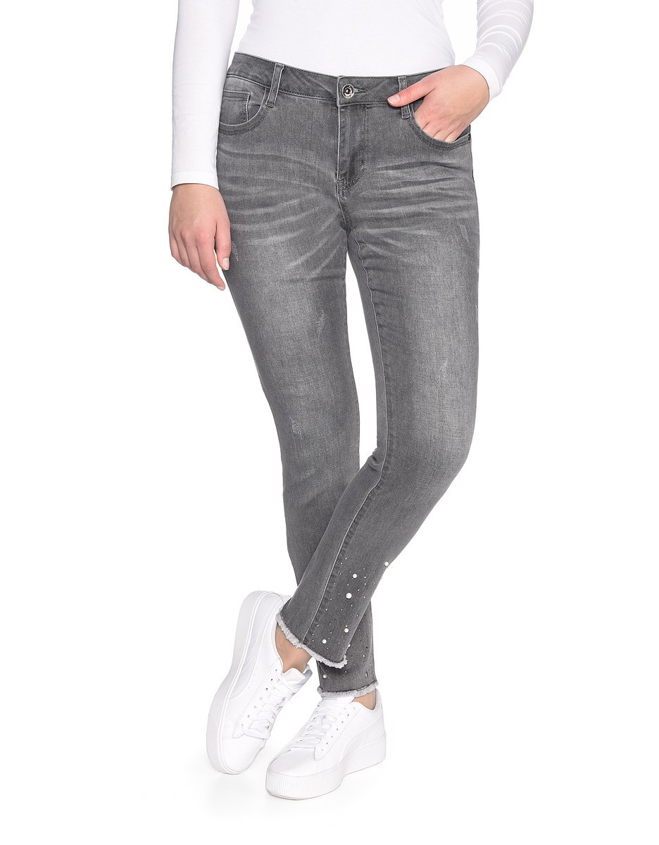 Bild 1 von My Own - Jeans mit Fransensaum, Perlen und Ziernieten