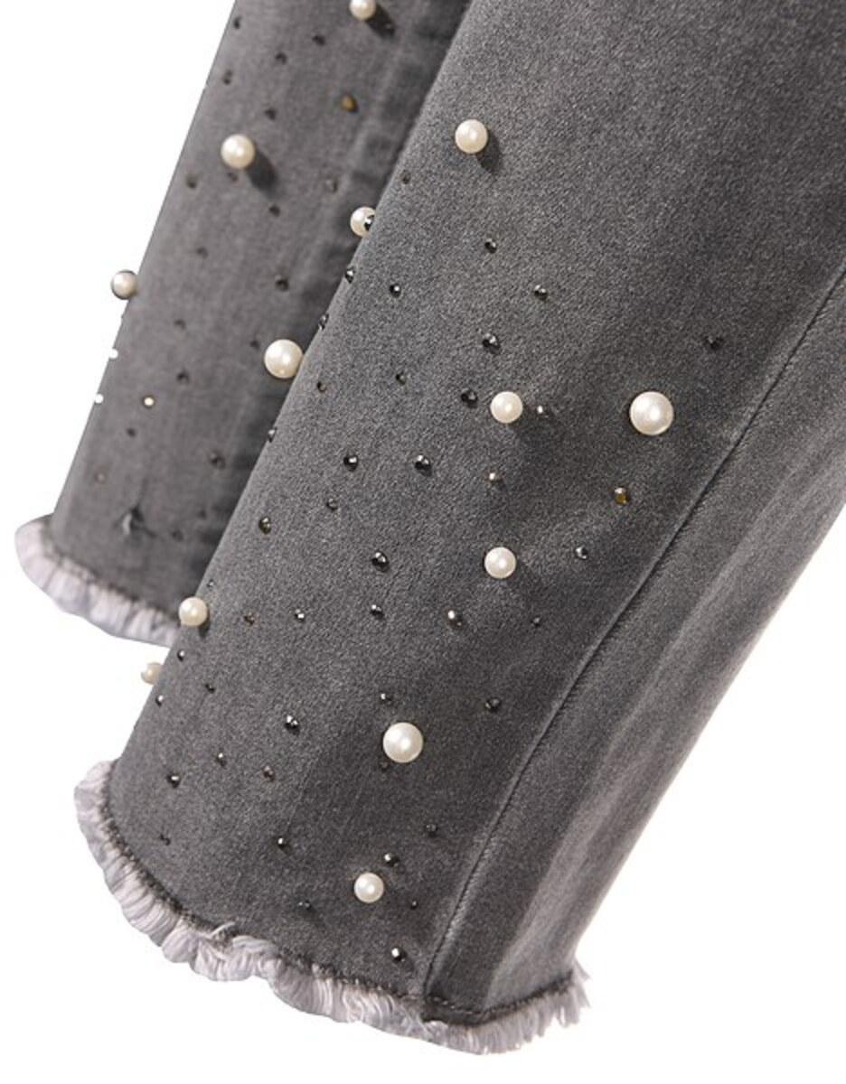 Bild 5 von My Own - Jeans mit Fransensaum, Perlen und Ziernieten
