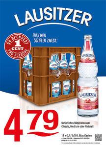 Lausitzer Natürliches Mineralwasser Classic, Medium oder NaturellDu spendest 1 Cent pro Flasche für einen guten Zweck!