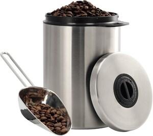 Edelstahldose für 1 kg Kaffeebohnen mit Schaufel edelstahl