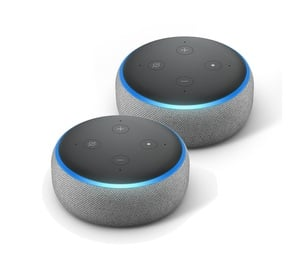 Amazon Echo Dot 3. Generation Smart-Speaker mit Alexa, Hellgrau Stoff, 2er Pack