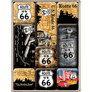 Nostalgic-Art Magnet-Set Route 66