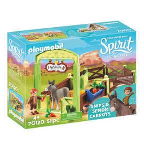 PLAYMOBIL® Spirit Riding Free Pferdebox Snips und Herr Karotte 70120