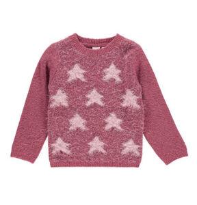 manguun Mädchen Pullover mit Flausch-Fransen und Sternenmotiv, pink, 110, 110