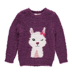 manguun Mädchen Flausch-Pullover mit Alpakamotiv, violett, 110, 110