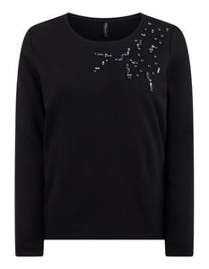Damen Sweatshirt mit Ziersteinbesatz