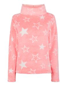Damen Sweatshirt aus Teddyfell mit Sternenmuster