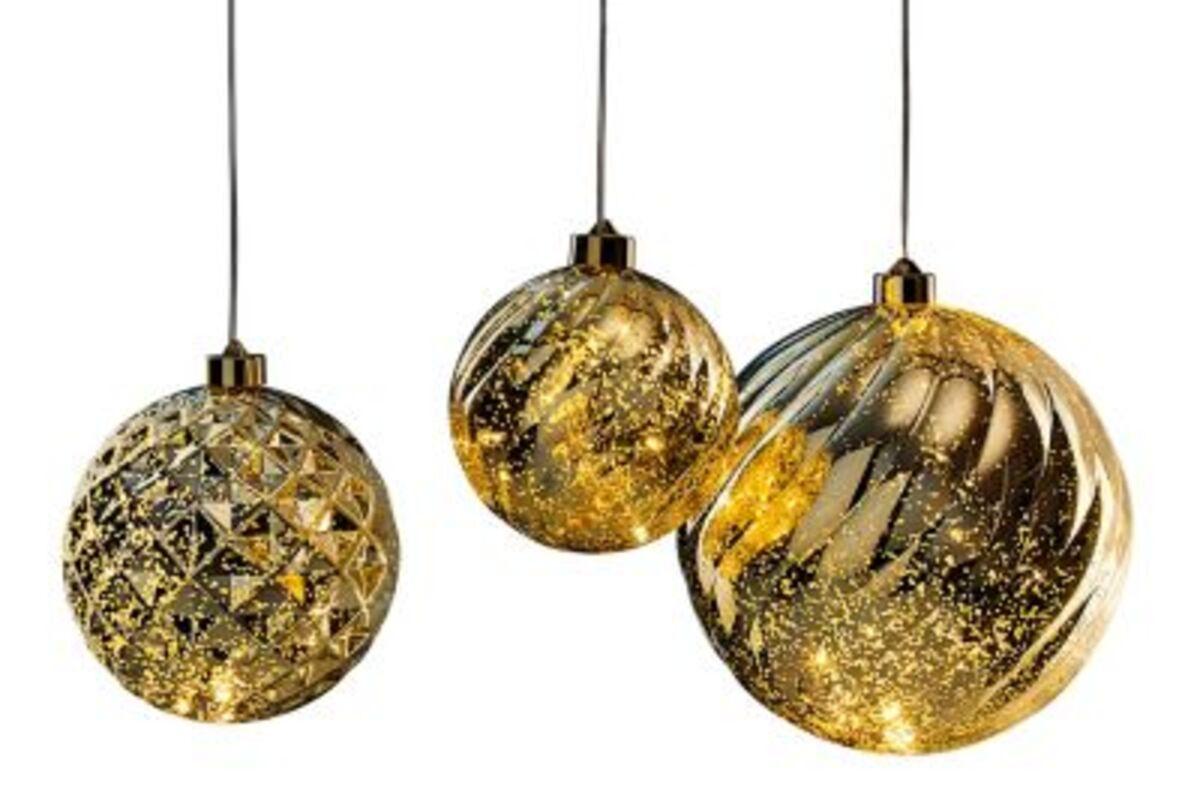 Imaginea 1 a bile LED de brad de Crăciun, set de 3