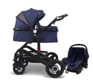 VCM Premium Set 3in1 Kombi - Kinderwagen, gefederter Babywagen Wanne Autositz Alu VCM Premium Kinderwagen 3in1 (Farbe: Dunkelblau)