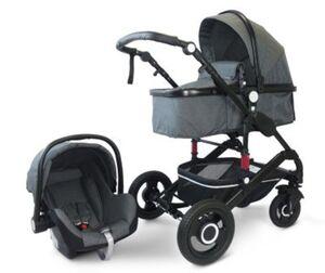 VCM Premium Set 3in1 Kombi - Kinderwagen, gefederter Babywagen Wanne Autositz Alu VCM Premium Kinderwagen 3in1 (Farbe: Dunkelgrau)