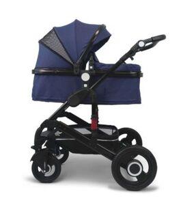 VCM Premium Set 2in1 Kombi - Kinderwagen, gefederter Babywagen Alu VCM Premium Kinderwagen 2in1 (Farbe: Dunkelblau)