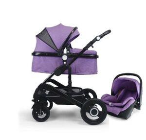VCM Premium Set 3in1 Kombi - Kinderwagen, gefederter Babywagen Wanne Autositz Alu VCM Premium Kinderwagen 3in1 (Farbe: Lila)