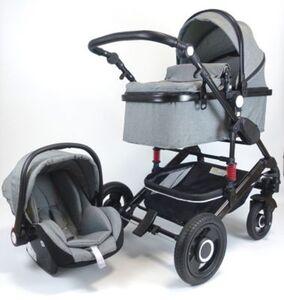 VCM Premium Set 3in1 Kombi - Kinderwagen, gefederter Babywagen Wanne Autositz Alu VCM Premium Kinderwagen 3in1 (Farbe: Anthrazit)