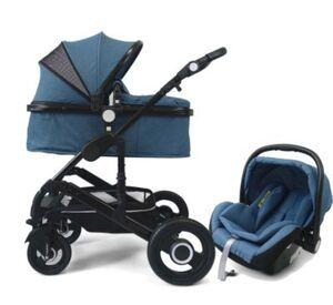 VCM Premium Set 3in1 Kombi - Kinderwagen, gefederter Babywagen Wanne Autositz Alu VCM Premium Kinderwagen 3in1 (Farbe: Hellblau)