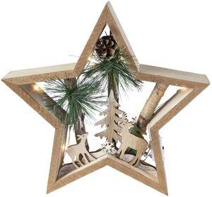 LED-Standdeko - Stern - aus Holz - 24,5 x 5 x 23,5 cm