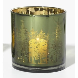 Weihnachtsglanz by casaNOVA Windlicht UNDER THE MISTLETOE 15 cm Glas grün mit goldfarbig
