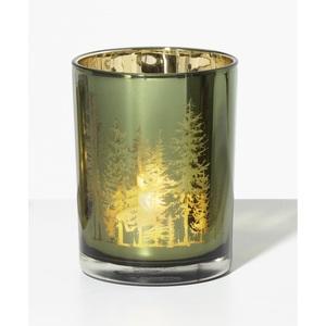 Weihnachtsglanz by casaNOVA Windlicht UNDER THE MISTLETOE 12 cm Glas grün mit goldfarbig