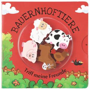 """Buch mit Holztieren, """"Bauernhoftiere"""""""