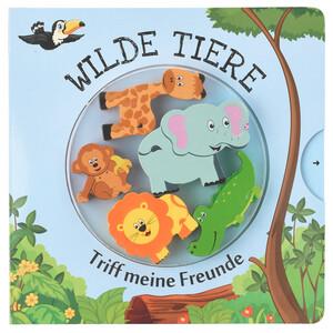 """Buch mit Holztieren, """"Wilde Tiere"""""""