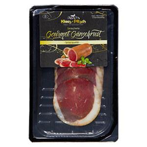 Klaas + Pitsch Gourmet Gänsebrust geräuchert, in Scheiben geschnitten, jede 60-g-SB-Packung