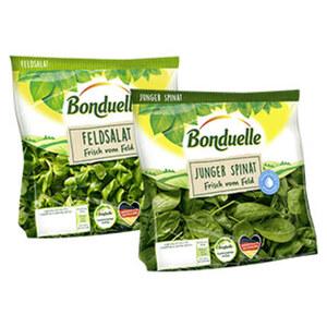 Bonduelle Junger Spinat oder Feldsalat 100 g und weitere Sorten jeder Beutel