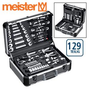 Werkzeugkoffer - vielseitig anwendbares Werkzeugset - im Alu-Koffer - inkl. Zangen, Hammer, Schraubendreher, Ringschlüssel, Bits u. v. m. - 129 tlg.