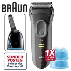 Rasierer Series 3 - 3050cc ProSkin · Akku-/Netzgerät · Schnelllade-Funktion · ca. 45 min Akkulaufzeit · inkl. Lade- und Reinigungsstation