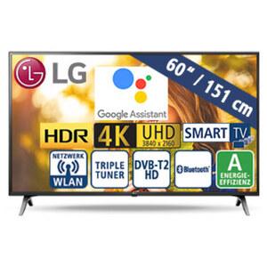 "60""-Ultra-HD-LED-TV 60UM71007 • TV-Aufnahme über USB, HbbTV • 3 HDMI-/2 USB-Anschlüsse, CI+ • 2.0-Soundsystem/20 Watt • Stand-by: 0,5 Watt, Betrieb: 136 Watt • Maße: H 79,6 x B 136,8 x T"