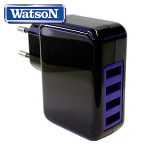USB-Ladegerät 4fach · Smart-IC für optimale Spannungsversorgung · automatische Anpassung auf 100-240 Volt · Eurostecker