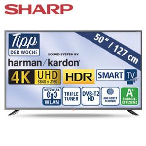 "50""-Ultra-HD-LED-TV 50BJ3E • HbbTV • 3 HDMI-/USB-Anschlüsse, CI+, SD-Kartenslot • 2 x 10 Watt RMS • Stand-by: 0,5 Watt, Betrieb: 70 Watt • Maße: H 65,8 x B 112,4 x T 8,6 cm • Energie-Ef"