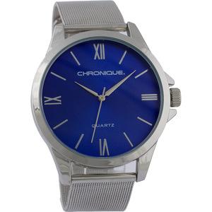 Chronique Herren Armbanduhr mit Mesharmband, Silber