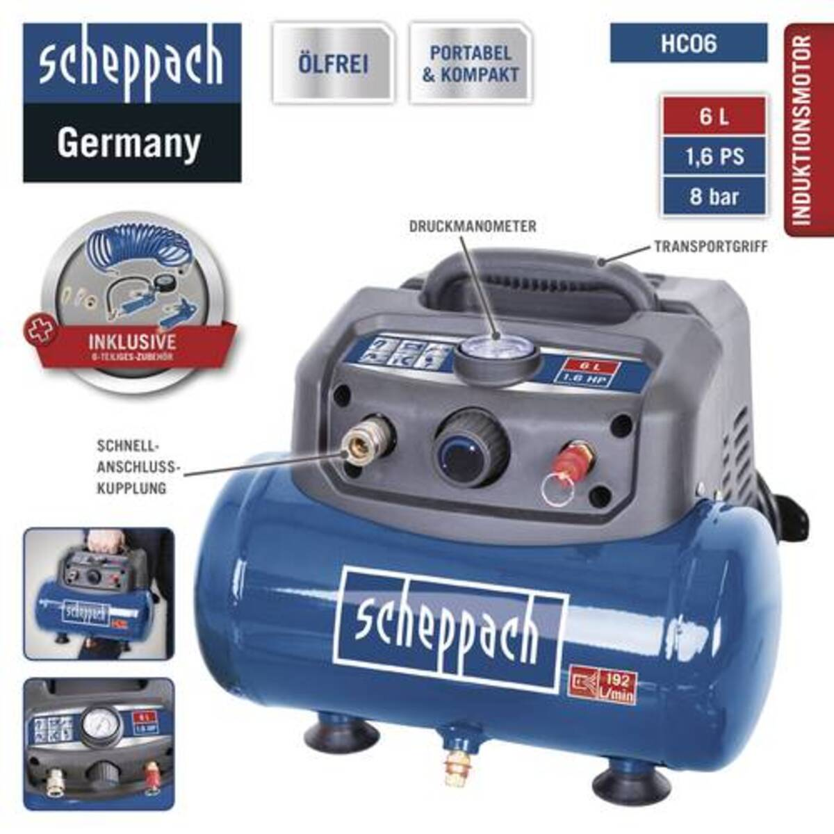 Bild 4 von Scheppach Kompressor HC06 6L