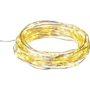 LED-Lichterkette Kupfer 100 warmweiße LEDs Silberdraht 505 cm