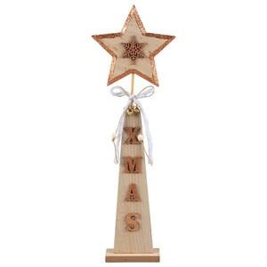 Standdeko Stern aus Holz mit Glitter und Glöckchen